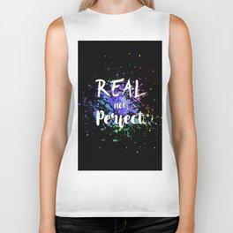 Lettering 'Real not perfect' Biker Tank