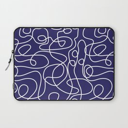 Doodle Line Art | White Lines on Navy Blue Laptop Sleeve