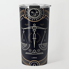 Libra Zodiac Golden White on Black Background Travel Mug