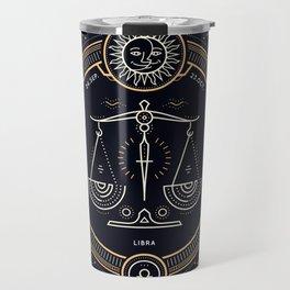 Libra Zodiac Golden White on Black Background Travel Mug
