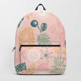 Modern Pink Green Yellow Hand Painted Exotic Floral Backpack