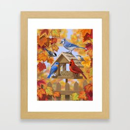 Autumn Bird Feeder Gathering Framed Art Print
