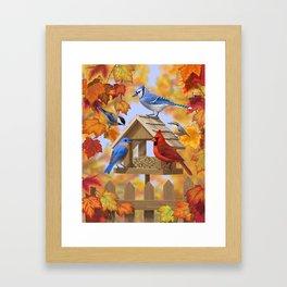 Autumn Bird Feeder Gathering Framed Art Print