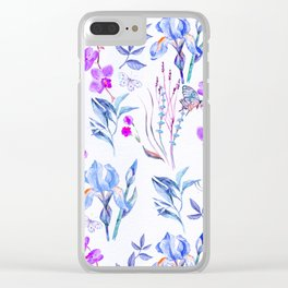 Modern purple blue watercolor hand painted orquid butterfly Clear iPhone Case
