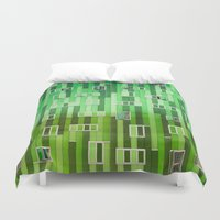 green pattern Duvet Covers featuring Green Pattern by Maria Eugenia Espino