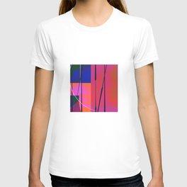 Modern Bold Pink Blue Orange Abstract T-shirt