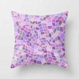 Violet Mosaic Tiles Throw Pillow