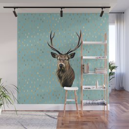 Highland Stag on turquoise and gold raindrop pattern Wall Mural