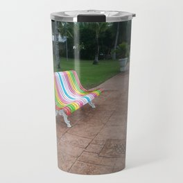 colorful bench sea boardwalk Travel Mug