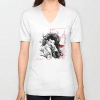 tesla V-neck T-shirts featuring Nikola Tesla by viva la revolucion