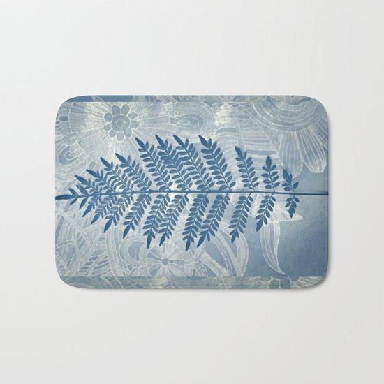 Jacaranda Leaf in Blue, Cream, Grey Bath Mat
