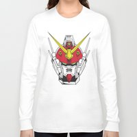 gundam Long Sleeve T-shirts featuring Heavyarms Gundam Wing by Andrew Huckleberry