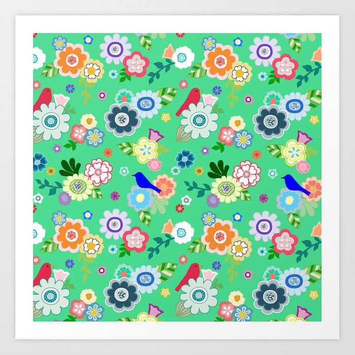 Whimsical Flowers & Birds in Green Art Print by bungalowongoldenhill | Society6
