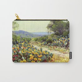 Yellow and Red Cactus Blossoms in the Desert Landscape painting by Robert Julian Onderdonk Carry-All Pouch