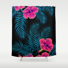 Palm Leaves Hibiscus Flowers Dark Exotica Shower Curtain
