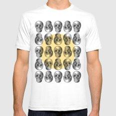 Skulls Pattern II White Mens Fitted Tee MEDIUM