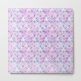 Floral Elegant Tribal Pattern (Pink Maroon Gray Green) Metal Print
