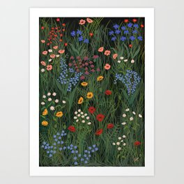 Meadow Floral Wildflowers Illustration Botanical Cottage Garden Flowers Nature Art Art Print