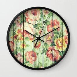 Flowers on Wood 05 Wall Clock
