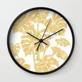 Delicate Monstera Golden #society6 Wall Clock