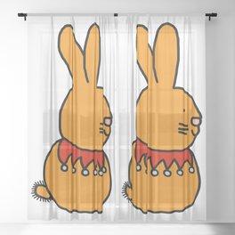 Cute gold bunny with a fancy beaded collar Sheer Curtain