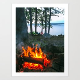 Campfire and Kayaks on Lake Pemaquid in Damariscotta, Maine Art Print