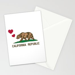 California Republic Bear with Hearts Stationery Cards