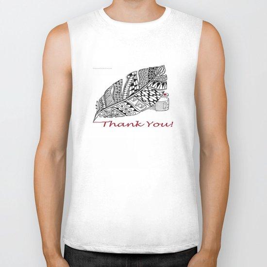 Zentangle Thank You - Black and White Illustration Biker Tank