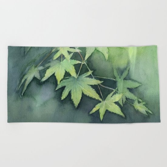 Japanese Maple Watercolor, Green Leaves, Tree Branch Beach Towel