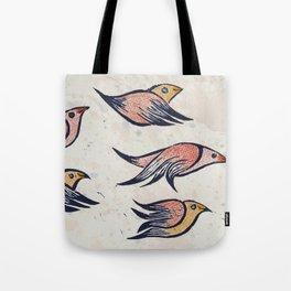 VueloIII  Original linocut print Tote Bag