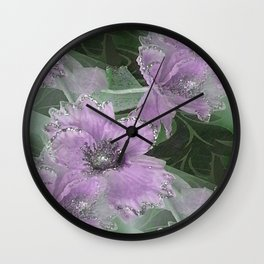 Pink Roses With Silver Glitter Wall Clock