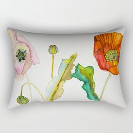 Pink and Red Poppy- Circle of Life of a Poppy Rectangular Pillow