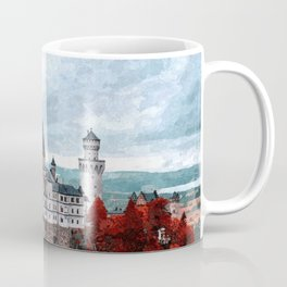 The Castle of Mad King Ludwig, Autumn, Neuschwanstein Castle, Bavaria, Germany landscape painting Coffee Mug