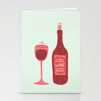 wine Stationery Cards featuring Wine by Cat Coquillette