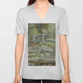Bridge over a Pond of Water Lilies by Claude Monet Unisex V-Neck