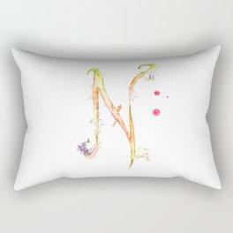 Letter N watercolor - Watercolor Monogram - Watercolor typography - Floral lettering Rectangular Pillow