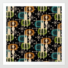 Retro Atomic Mid Century Pattern Black Orange Green and Turquoise Art Print