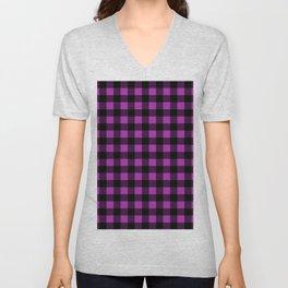 Plaid (Black & Purple Pattern) Unisex V-Neck