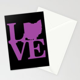 Love  Ohio in Purple Stationery Cards