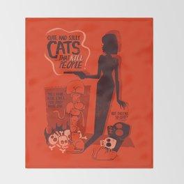 Cat Movie - orange Throw Blanket