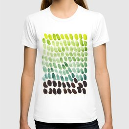 Colorful Watercolor Scales Rainbow Pattern Deep Green Lime Green T-shirt
