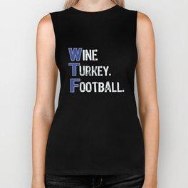 Top Fun Wine Turkey Football Thanksgiving Detroit Colors Biker Tank