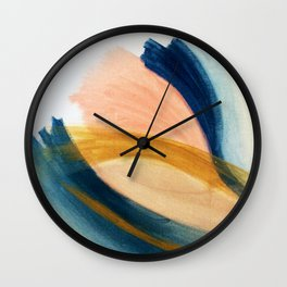 Slow as the Mississippi - Acrylic abstract with pink, blue, and brown Wall Clock