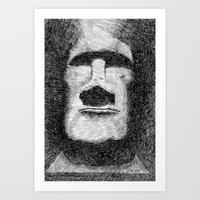 island Art Prints featuring Easter island - Moai statue - Ink by Nicolas Jolly