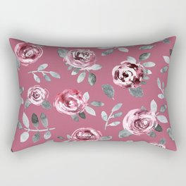 Modern hand painted pink gray watercolor roses Rectangular Pillow