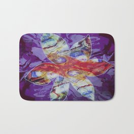 Bright Abstract Flower; Purple, Lavender and Maroon Background; Fluid Abstract 55 Bath Mat