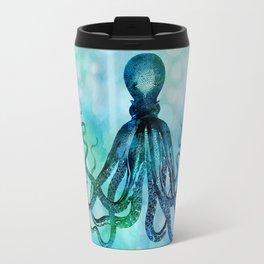 Octopus blue green mixed media underwater artwork Travel Mug