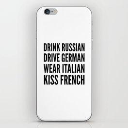 Russian German Italian French iPhone Skin