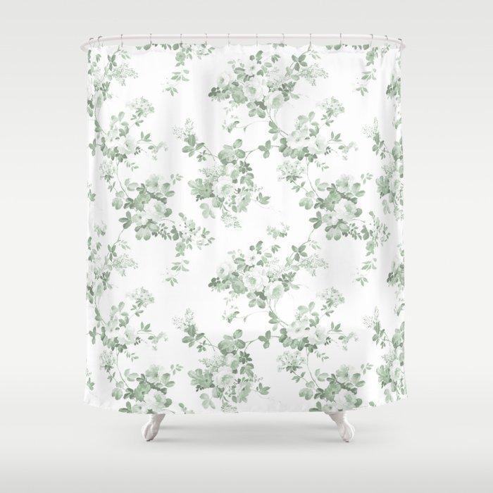 Elegant Vintage Green White Roses Shabby Floral Shower Curtain By Pink Water