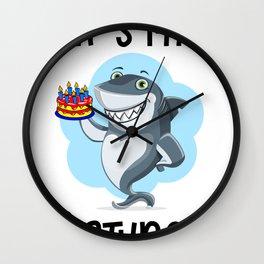 sharkbirthdayblack Wall Clock
